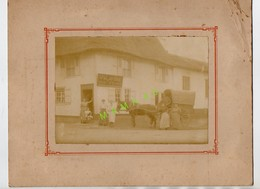 PHOTO  SUR CARTON - COMMERCE TOIT DE CHAUME - VVE ALAVOINE - EPICERIE - CAFE - CHARCUTERIE - ATTELAGE TIRE PAR CHEVAL - - Anonyme Personen
