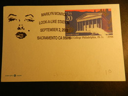 19889) MARILYN MONROE LOOK A LIKE STATION 2001 TIMBRO SU CARTOLINA POSTALE - Donne Celebri