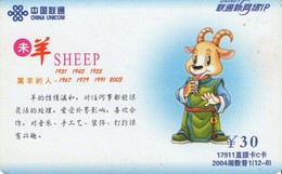 TARJETA TELEFONICA DE CHINA . Zodiac, SHEEP. 2004-2(12-8). (227) - Zodiaco