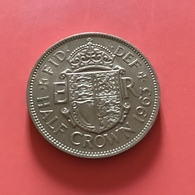 GRAN BRETAGNA  - ENGLAND - 1963 - 1/2 Half CROWN  Elisabetta II - 1971-… : Monnaies Décimales
