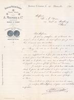 16 Blanzac S/Cognac.Eaux De Vie  A MAGNIER, Lettre Commerciale Illustrée De 1891,tb état. - 1800 – 1899