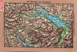 / Der Bodensee (lac De Constance) Und Zürichersee - CP Gauffrée Avec Montagnes En Relief - SG St-Gall