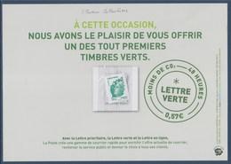 = Encart De Présentation Marianne De Beaujard Lettre Verte Timbre 4593 Sous Emballage Scellé - 2008-13 Marianne De Beaujard