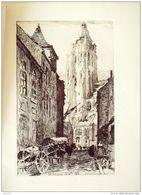 BELGIQUE-Ste WALBURG-EGLISE-EBOUROUX-EAU-FORTE Originale-AUDENARDE-44-1911 - Stiche & Gravuren