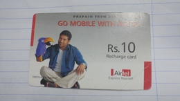 India-airtel Prepiad Card-(54)-(rs.10)(new Delhi)-(7587873455661328)(look Out Side-crooked)used Card+1 Card Prepiad Free - India