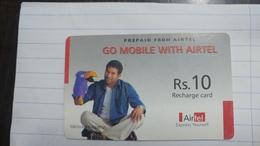 India-airtel Prepiad Card-(54a)-(rs.10)(new Delhi)-(3536446114090557)(look Out Side)used Card+1 Card Prepiad Free - India
