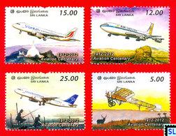 Sri Lanka Stamps 2012, Aviation Centenary, Airplanes, Planes, MNH - Sri Lanka (Ceylon) (1948-...)