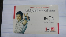 India-airtel Aisi Azadi Aur Kahaan-(56)(rs.54)(new Delhi)-(5025394409755836)(look Out Side)used Card+1 Card Prepiad Free - India