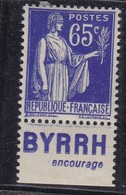 PUBLICITE: TYPE PAIX 65C BLEU BYRRH-encourage NEUF* ACCP981 C7E - Advertising