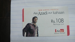 India-airtel Aisi Azadi Aur Kahaan(57c)(rs.108)(new Delhi)(0897350425283555)(look Out Side)used Card+1 Card Prepiad Free - Indien
