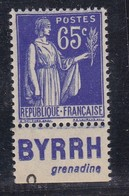 PUBLICITE: TYPE PAIX 65C BLEU BYRRH-grenadine NEUF* ACCP959 C6E - Advertising