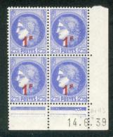 Lot 9401 France Coin Daté N°487 Cérès (**) - Dated Corners