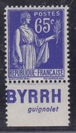 PUBLICITE: TYPE PAIX 65C BLEU BYRRH-guignolet NEUF** ACCP960 C6E - Advertising