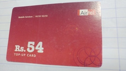 India-airtel Presents-(69)(rs.54)(new Delhi)(7992165981434808)(look Out Side)used Card+1 Card Prepiad Free - India
