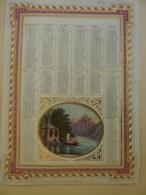 CHROMOS-ALMANACH  CALENDRIER  1870 ALLEGORIE Paysage De Montagne Chromo-LITHOGRAPHIE - Calendars