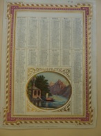 CHROMOS-ALMANACH  CALENDRIER  1870 ALLEGORIE Paysage De Montagne Chromo-LITHOGRAPHIE - Calendriers