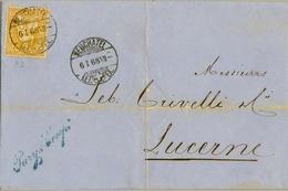 1868 , SUIZA , ENVUELTA CIRCULADA , NEUCHATEL - LUZERNE  ,   HELVETIA 20 CTS., LLEGADA - 1862-1881 Sitted Helvetia (perforates)