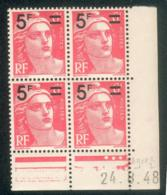 Lot A734 France Coin Daté Gandon N°827 (**) - Dated Corners