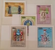 11 Lebanon 1980 SG 1265-1269 50th Anniv Intnl Chess Federation - Complete Set MNH - Lebanon