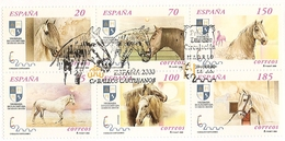 2000-ED. 3723 A 3728 BLOQUE -CABALLOS CARTUJANOS ESPAÑA 2000-MAT. 1er. DIA - Blocks & Kleinbögen