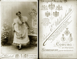Vintage Photo 1898 CDV Cabinet Card By UHLENHUTH SCHWEINFURT, Goburg Germany THEATER Portrait Of Youg Actress In Costume - Fotos