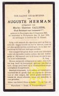 DP Oud Soldaat Leopold I - Auguste Herman ° Boezinge Ieper 1845 † Wijtschate Heuvelland 1932 X Marie Th. Callens - Images Religieuses