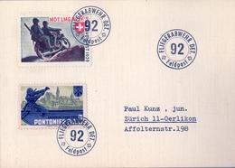 SUIZA  , FELDPOST - CORREO Y VIÑETA MILITAR , FLIEGERABWEHR DET. 92 / FELDPOST . PONTONEROS , MOTOCICLISMO , MOTOS - Soldaten Briefmarken