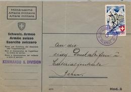 1940 SUIZA  , FELDPOST - CORREO Y VIÑETA MILITAR , DIVISION STAB / 5 / FELDPOST , CAZADORES DE MONTAÑA , SKI - Poste Militaire