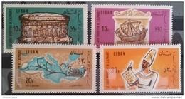 11 Lebanon 1966 Mi 958-961 Phoenicians Inventors Of Alphabet - Complete Set MNH - Ruins - Lebanon