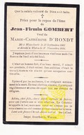 DP Jean F. Gombert ° Wijtschate Heuvelland 1843 † Watou Poperinge 1916 X Marie Cath. D'Hondt - Images Religieuses