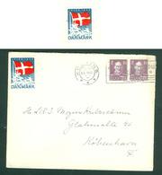 "Denmark  Cover 1945 With 2 Christmas Seals Flag.""Dannebrog"" 2 X 10 Ore King. Cancel: Kolding - 1913-47 (Christian X)"