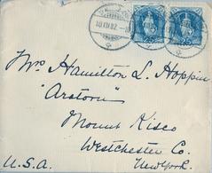 1902 , SUIZA , SOBRE CIRCULADO , ST. MORITZ - NEW YORK , LLEGADA - 1882-1906 Coat Of Arms, Standing Helvetia & UPU