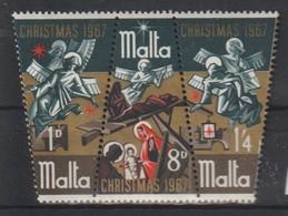 M 1073) Malta 1967 Mi 364-366 **: Weihnachten Christmas, Trapez-förmige Marken (Geometrie Mathematik) - Weihnachten