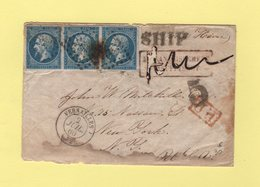 Versailles - Destination New York Via Le Havre - 2 Juil 1860 - Petits Defauts Mais Rare - 1849-1876: Klassik