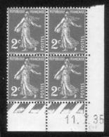 Lot C424 France Coin Daté Semeuse N°278(**) - Dated Corners