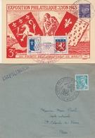 OBLIT. GF ILLUSTRÉE EXPO. PHILAT. LYON-BREST 05/43 - 1 Carte + 1 Enveloppe - Matasellos Conmemorativos