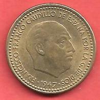 1 Peseta , ESPAGNE , Alu-Bronze , 1947 (49) , N° KM # 775 , N° Y 113 - 1 Peseta