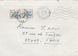 Devant D'enveloppe 1973 - Cachet Paris Distribution Sur Timbres Taxe YT 99 (x2) - Taxes