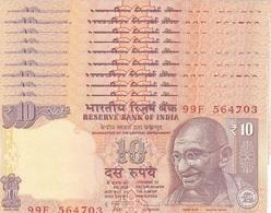 INDIA 10 RUPEES 2013 P-102i UNC PLATE LETTER A. SIGN. SUBBARAU 10 PCS [IN286cA] - India