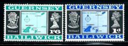 "Guernsey       ""Maps""  Rederawn   49o Intead Of 40     Set    SC# 28-29    MNH - Guernsey"