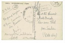 """Cachet Simple Couronne """"Centre Régional E.P.M. Et Ski - Le Vaguemestre - Les ROUSSES"""" Circ 1946 CP Les Rousses, église - Marcophilie (Lettres)"""