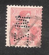 Perfin/perforé/lochung Switzerland No YT131 1907 Helvetia With Sword  M.Z.  Metallwaren-Fabrik Zug AG - Perforés