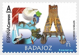 H01 Spain 2019 12 Months 12 Stamps - Badajoz MNH  Postfrisch - 1931-Heute: 2. Rep. - ... Juan Carlos I