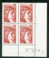 Lot C632 France Coin Daté Sabine N°1965 (**) - Dated Corners