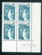 Lot C663 France Coin Daté Sabine N°1966 (**) - Dated Corners