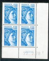 Lot C746 France Coin Daté Sabine N°1975 (**) - Dated Corners