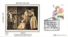 UK 1982 Mi. 917 FDC Silk, Europa British Theatre, Royal Opera House, Beggars Opera By John Gay, Singer - Musique