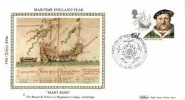 UK 1982 Mi. 918 FDC Silk, Maritime England, King Henry VIII, Ship Mary Rose (1509) - Ships