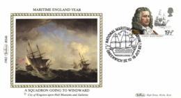 UK 1982 Mi. 919 FDC Silk, Maritime England, Admiral Robert Blake, Ship Triumph - Ships