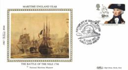 UK 1982 Mi. 920 FDC Silk, Maritime England, Lord Horatio Nelson, Ship HMS Victory, Battle Of The Nile - Ships